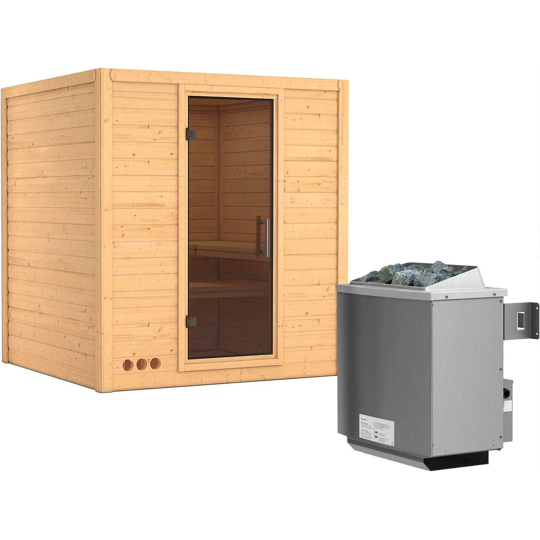 Karibu Sauna-Set Marika inkl. Ofen 9 kW mit integr. Steuerung, Tür Graphit | Bad > Sauna & Zubehör | Karibu