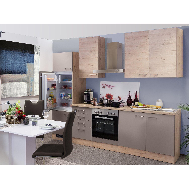 Flex-Well Küchenzeile Arizona 270 cm Quarz Cubanit-San Remo Eiche ...