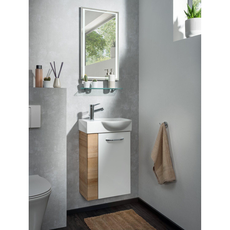 Fackelmann Mini Waschbeckenunterschrank 20 cm Milano Weiß Ast Eiche