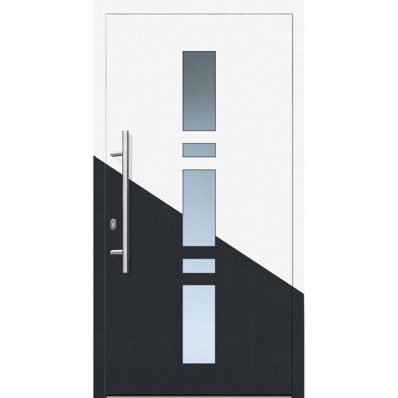 Kunststoff/Alu-Haustür EK017 DIN L 110 cm x 210 cm innen Weiß/Anthrazit