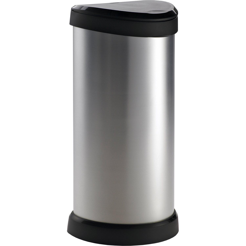 Curver Decobin Mülleimer 40 L Mit Drücker Silber Metallic