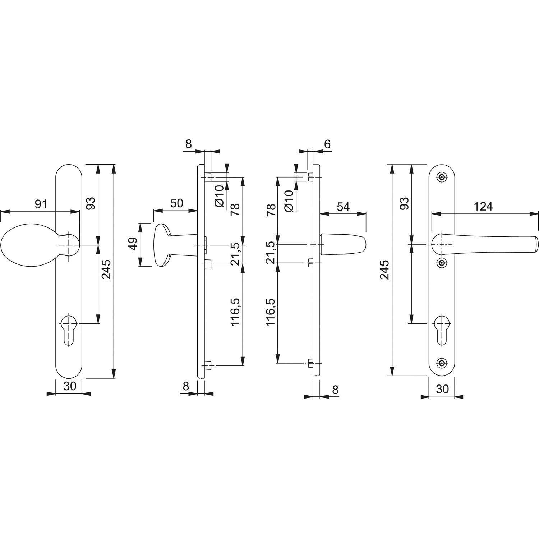 PZ 92 mm| Haust/ür-Garnitur HOPPE Wechselgarnitur Liverpool silber Dr/ücker-Knopf Schmalschild