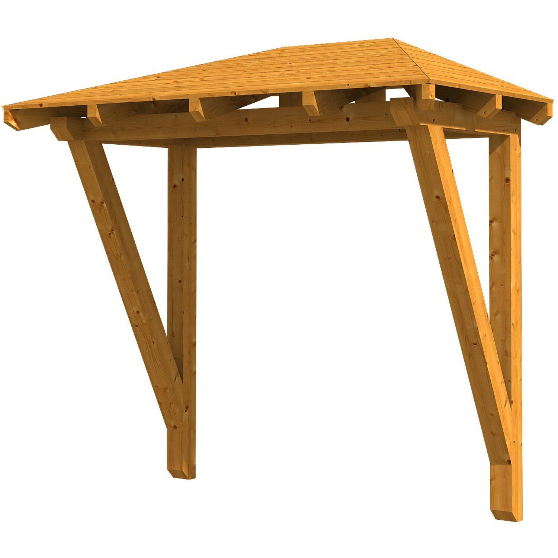 Skan Holz Haustür-Vordach Wismar 2 Eiche hell lasiert 258 cm x 126 cm   Baumarkt > Modernisieren und Baün > Vordächer   Skan Holz