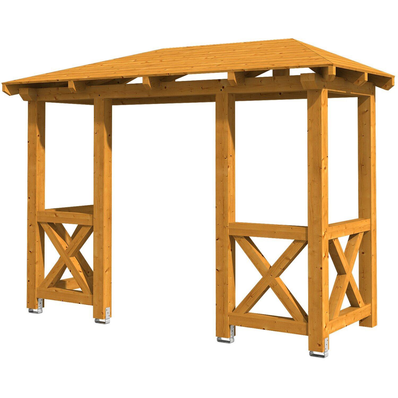Skan Holz Haustür-Vordach Wismar 5 Eiche hell lasiert 351 cm x 134 cm   Baumarkt > Modernisieren und Baün   Skan Holz