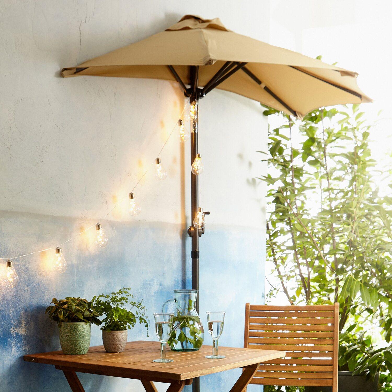 Siesta Sonnenschirm für Balkon halbrund Beige