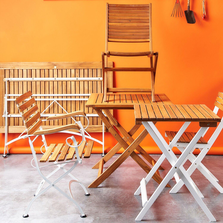 Parklife Gartentisch Klappbar 130 X 80 X 75 Cm Holz Und Metall Weiß Verzinkt
