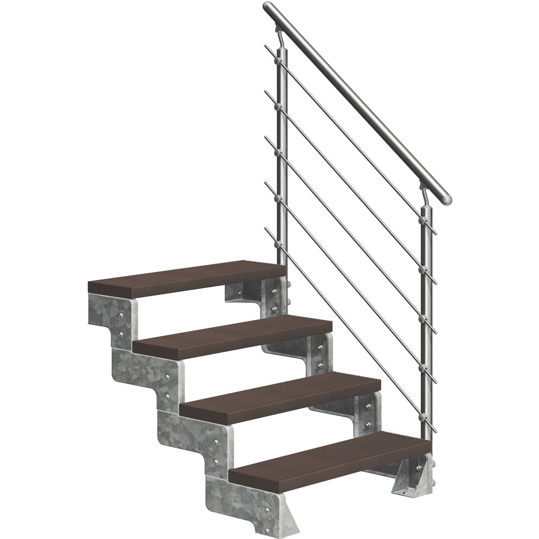 Dolle Außentreppe Gardentop 4 Trimax-Stufen 100 cm Dunkelbraun + Prova-Geländer   Baumarkt > Leitern und Treppen   Dolle