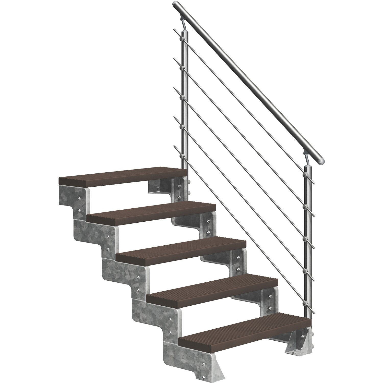 Dolle Außentreppe Gardentop 5 Trimax-Stufen 100 cm Dunkelbraun + Prova-Geländer | Baumarkt > Leitern und Treppen > Treppen | Dolle