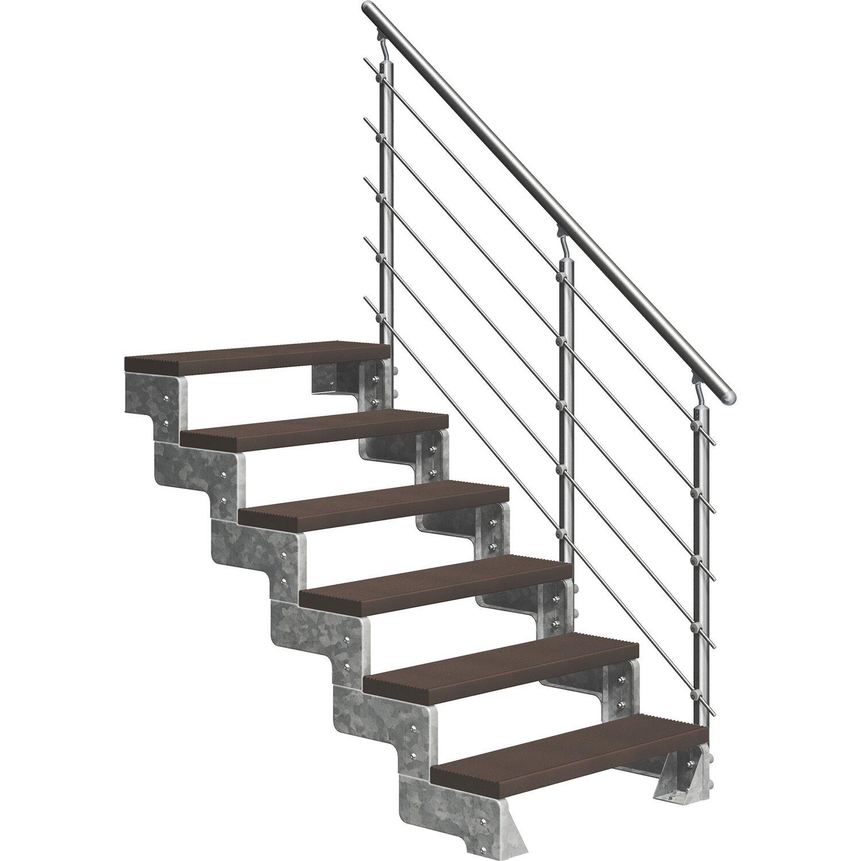 Dolle Außentreppe Gardentop 6 Trimax-Stufen 100 cm Dunkelbraun + Prova-Geländer   Baumarkt > Leitern und Treppen   Dolle