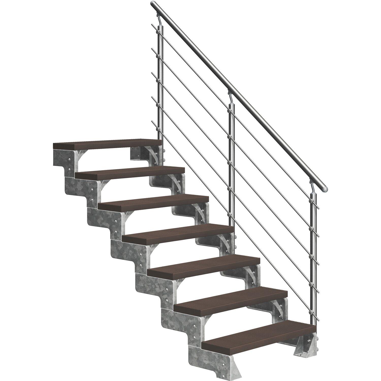Dolle Außentreppe Gardentop 7 Trimax-Stufen 80 cm Dunkelbraun + Prova-Geländer   Baumarkt > Leitern und Treppen > Treppen   Dolle