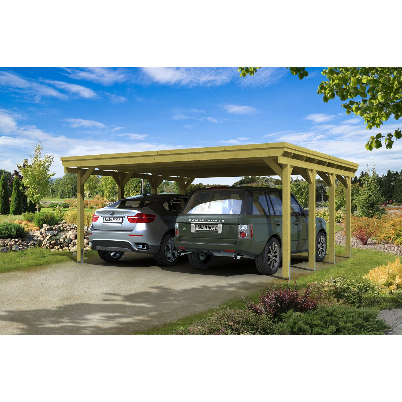 Skan Holz Flachdach-Doppelcarport Holstein 558 cm x 554 cm | Baumarkt > Garagen und Carports > Carports | Holz | Skan Holz