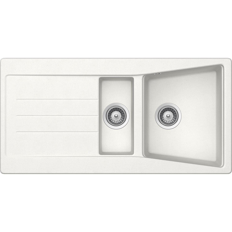 Respekta by Schock Granit-Einbauspüle Seattle 100 cm x 50 cm 1,5 Becken Weiß   Küche und Esszimmer > Spülen   Weiß   Respekta