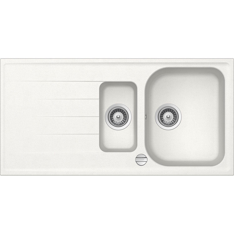 Respekta by Schock Granit-Einbauspüle Orlando 100 cm x 50 cm 1,5 Becken Weiß | Küche und Esszimmer > Spülen > Einbauspülen | Respekta