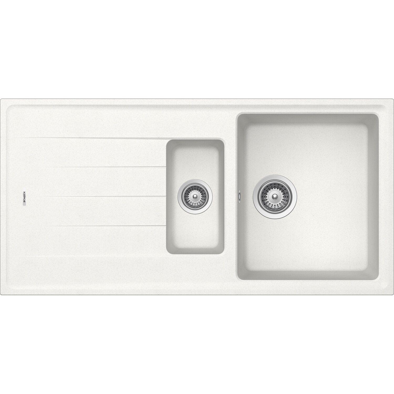 Respekta by Schock Granit-Einbauspüle Columbia 100 cm x 50 cm 1,5 Becken Weiß | Küche und Esszimmer > Spülen > Einbauspülen | Respekta