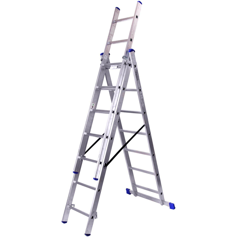 Alu-Schiebeleiter 3 x 7 Sprossen (4in1) Arbeitshöhe 5,2 Meter   Baumarkt > Leitern und Treppen > Schiebeleiter   Aluminium
