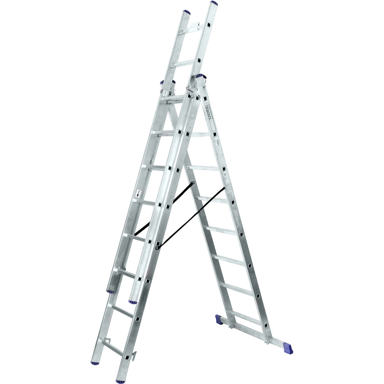 Alu-Schiebeleiter 3 x 8 Sprossen (4in1) Arbeitshöhe 5,8 Meter   Baumarkt > Leitern und Treppen > Schiebeleiter   Aluminium