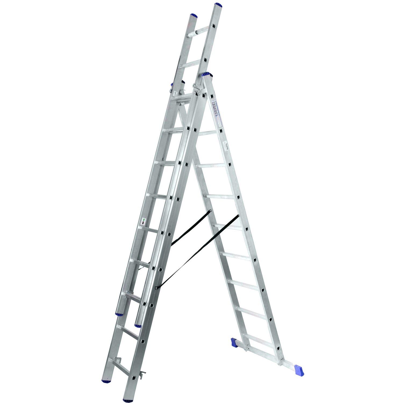 Alu-Schiebeleiter 3 x 9 Sprossen (4in1) Arbeitshöhe 6,3 Meter | Baumarkt > Leitern und Treppen > Schiebeleiter