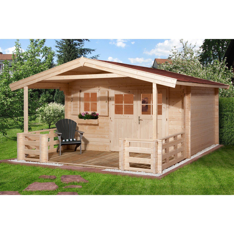 Weka Holz-Gartenhaus/Gerätehaus 111 B Gr.1 BxT: 380 cm x 450 cm davon 200 cm Terrasse