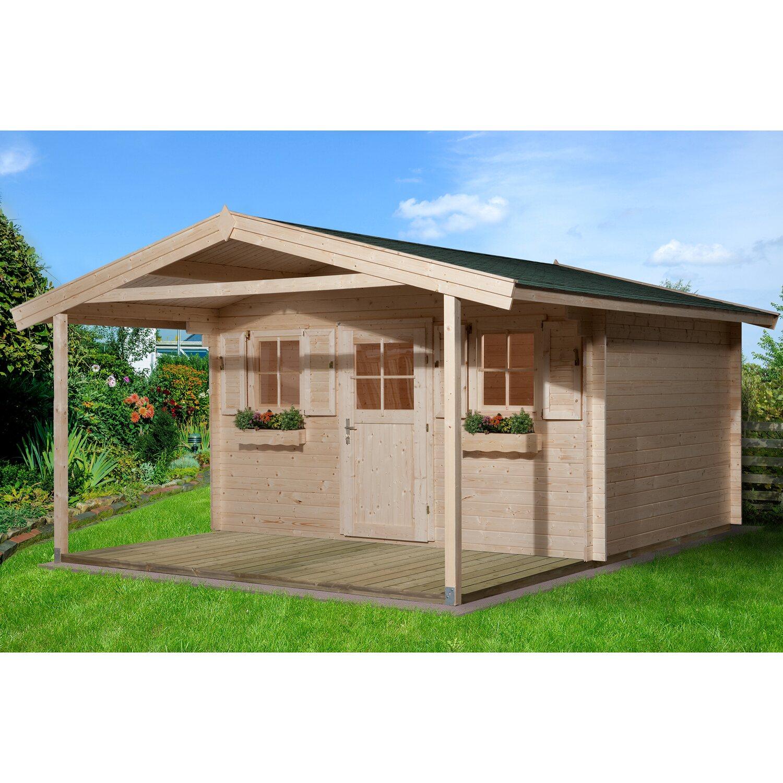 Weka Holz-Gartenhaus/Gerätehaus 110 A Gr.2 BxT: 380 cm x 580 cm davon 200 cm Vordach