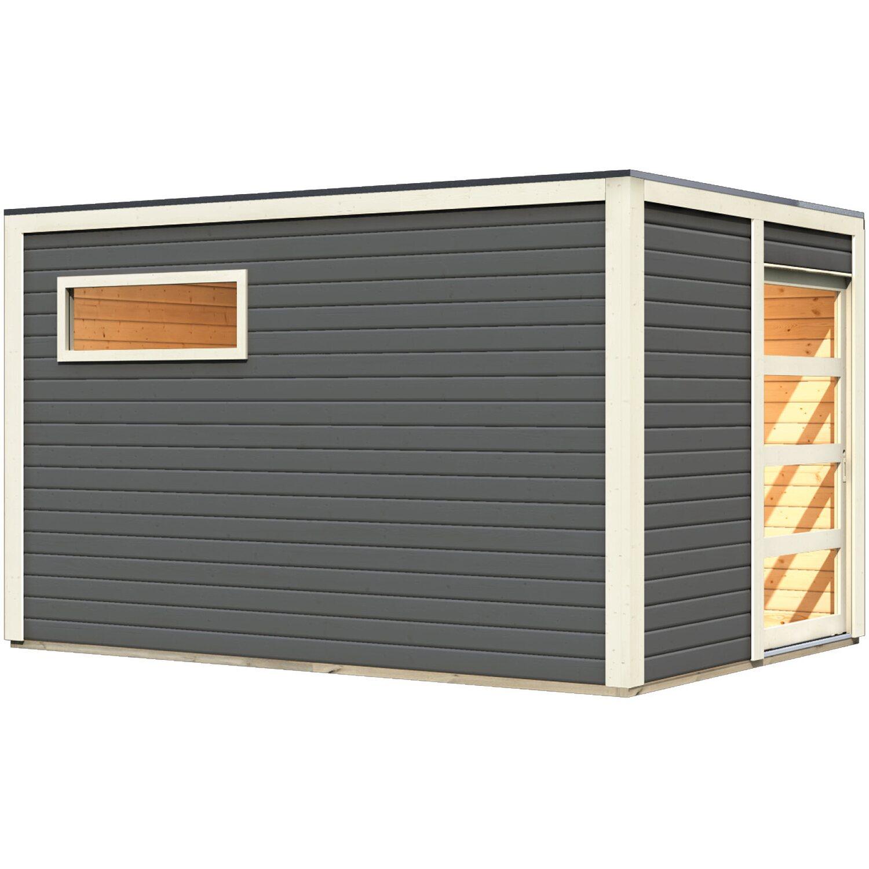 Karibu Saunahaus Christer, Glastür, Terragrau | Baumarkt > Bad und Sanitär > Sauna und Zubehör | Karibu