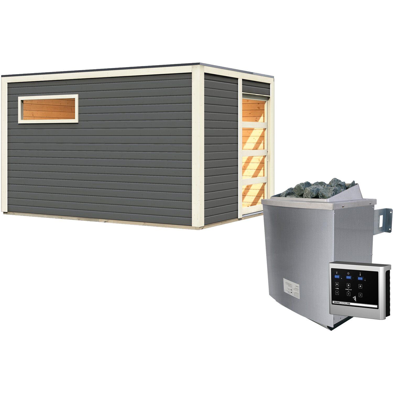 Karibu Saunahaus Christer, inkl. 9 kW Ofen mit ext. Strg., Glastür, Terragrau | Baumarkt > Bad und Sanitär > Sauna und Zubehör | Karibu