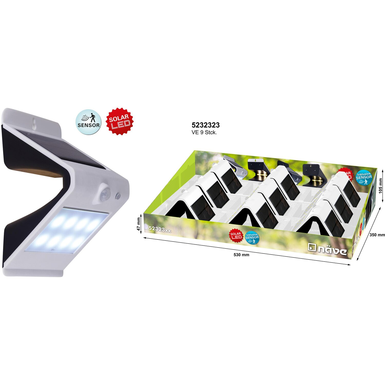 Näve Led Solar Wand Außenleuchte Mit Bewegungsmelder Grau Eek A