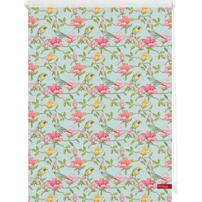 Lichtblick Rollo Klemmfix blickdicht Farbe grün-pink Birds ohne Bohren