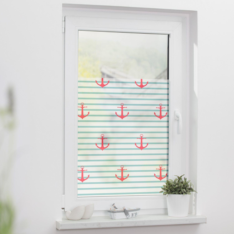 Lichtblick Fensterfolie Selbstklebend Mit Sichtschutz Anker Gestreift Turkis Kaufen Bei Obi