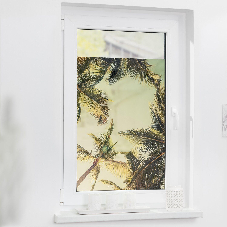 Lichtblick Fensterfolie Selbstklebend Mit Sichtschutz Palmen Und Sonne Grun Kaufen Bei Obi