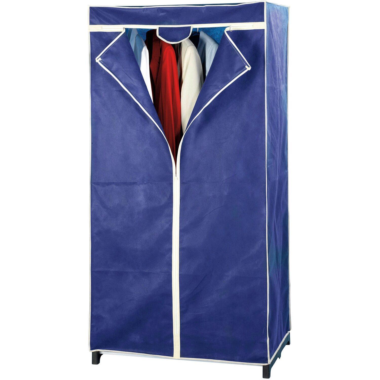 Wenko Kleiderschrank Air Vlies 75 x 150 x 50 cm | Schlafzimmer > Kleiderschränke > Ordnungssysteme | Blau | Textil | Wenko