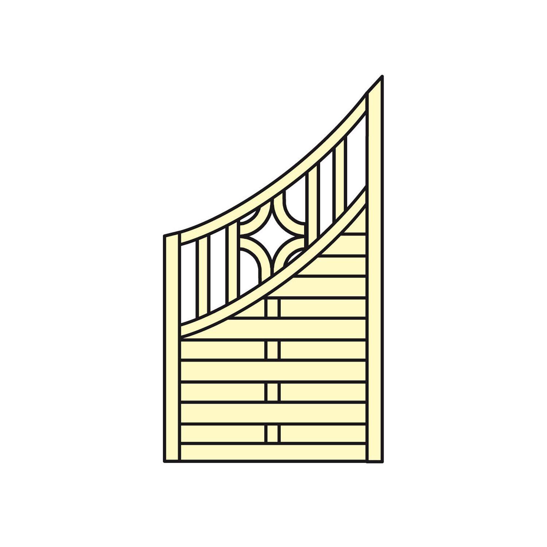 Sichtschutzzaun Element Koln M Bogen Unten Druckimpragniert 90