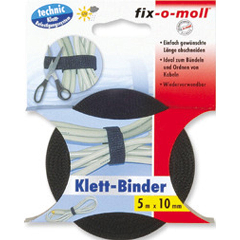 fix o moll fix-o-moll Klett-Binder Technik 5 m x 10 mm Schwarz