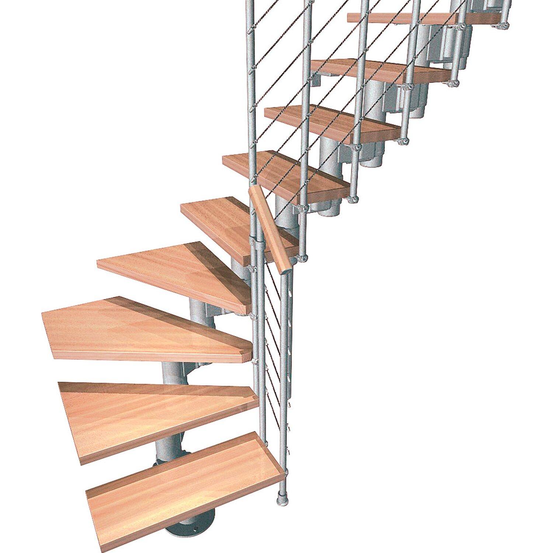 Fontanot Bausatztreppe Komoda L-Form 12 Stufen Buche hell inkl. Geländer in Grau