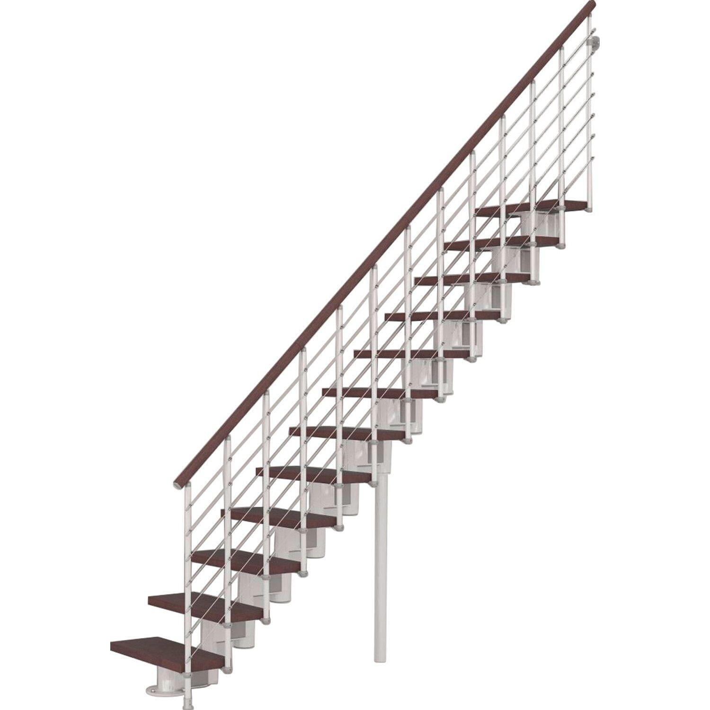 Bausatz Treppe | Bausatztreppe Komoda Gerade 12 Stufen Buche Dunkel Inkl Gelander In