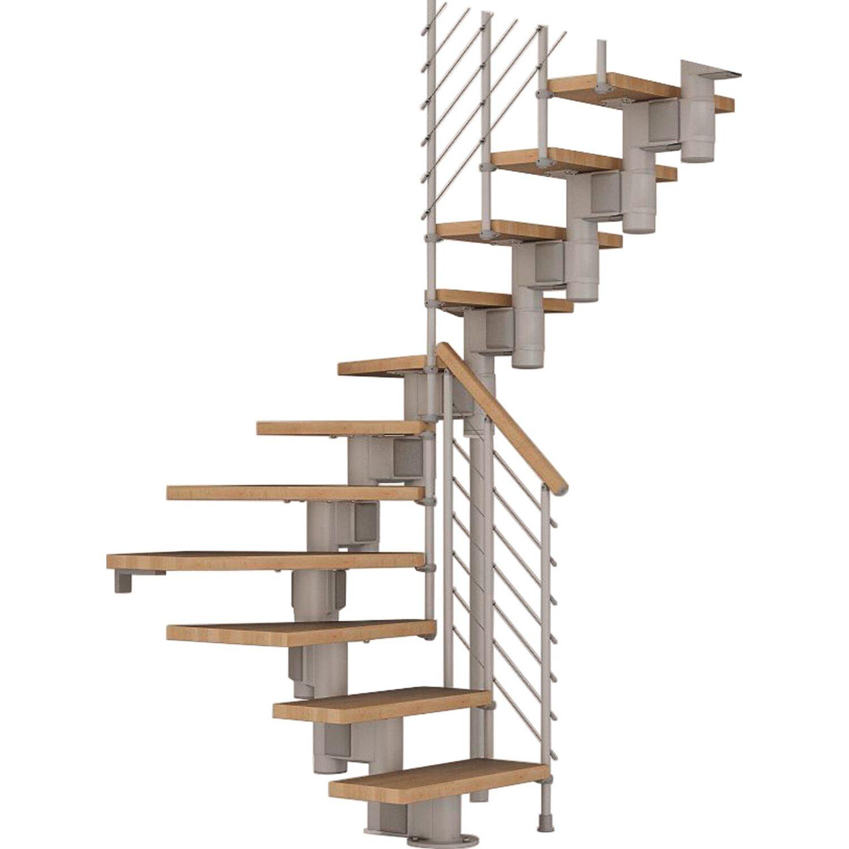 Fontanot Bausatztreppe Komoda U-Form 12 Stufen Buche hell inkl. Geländer in Grau