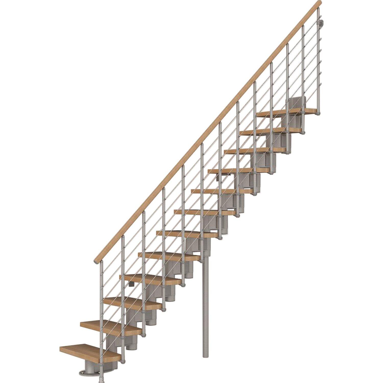 Fontanot Bausatztreppe Komoda gerade 12 Stufen Buche hell inkl. Geländer in Grau