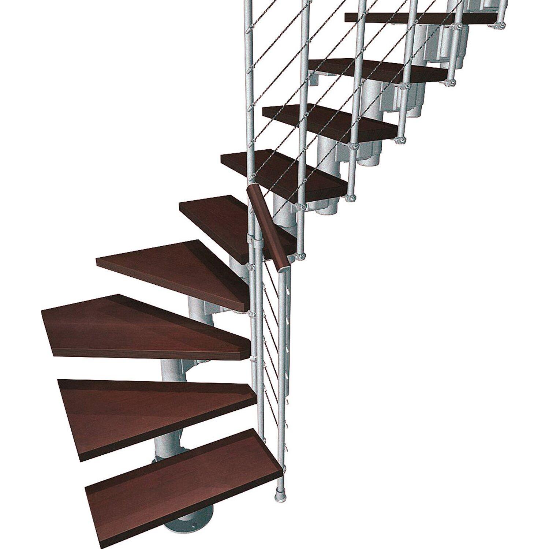 Fontanot Bausatztreppe Komoda L-Form 12 Stufen Buche dunkel inkl. Geländer in Grau