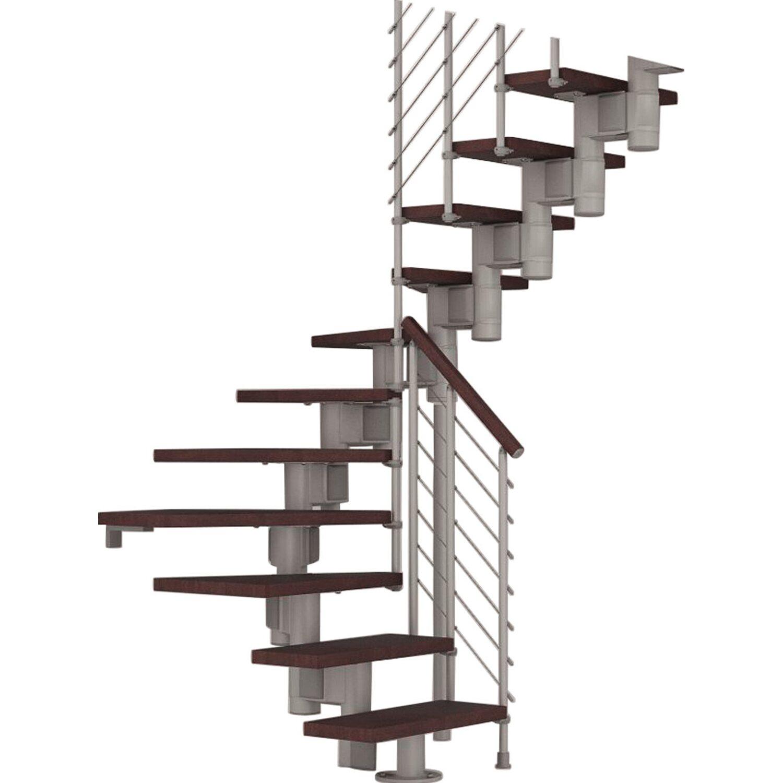 Fontanot Bausatztreppe Komoda U-Form 12 Stufen Buche dunkel inkl. Geländer in Grau