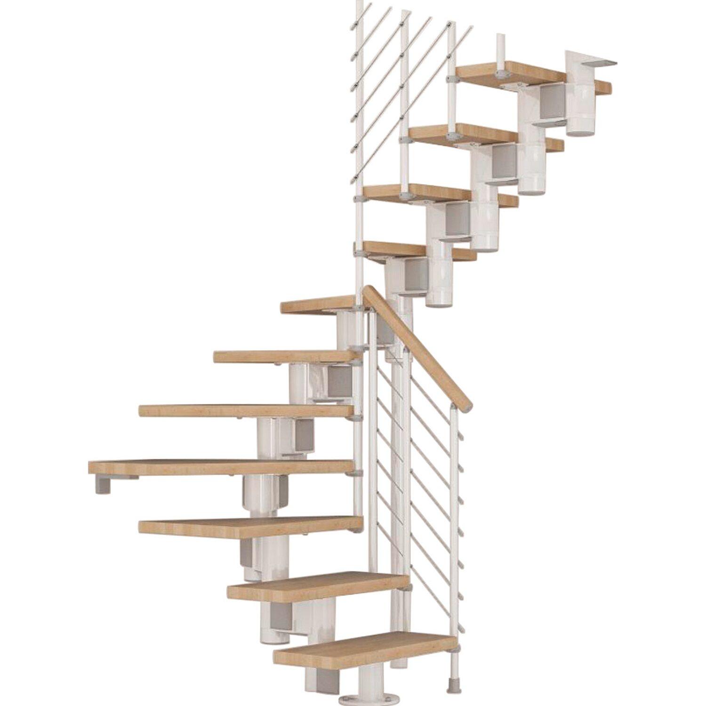 Fontanot Bausatztreppe Komoda U-Form 12 Stufen Buche hell inkl. Geländer in Weiß