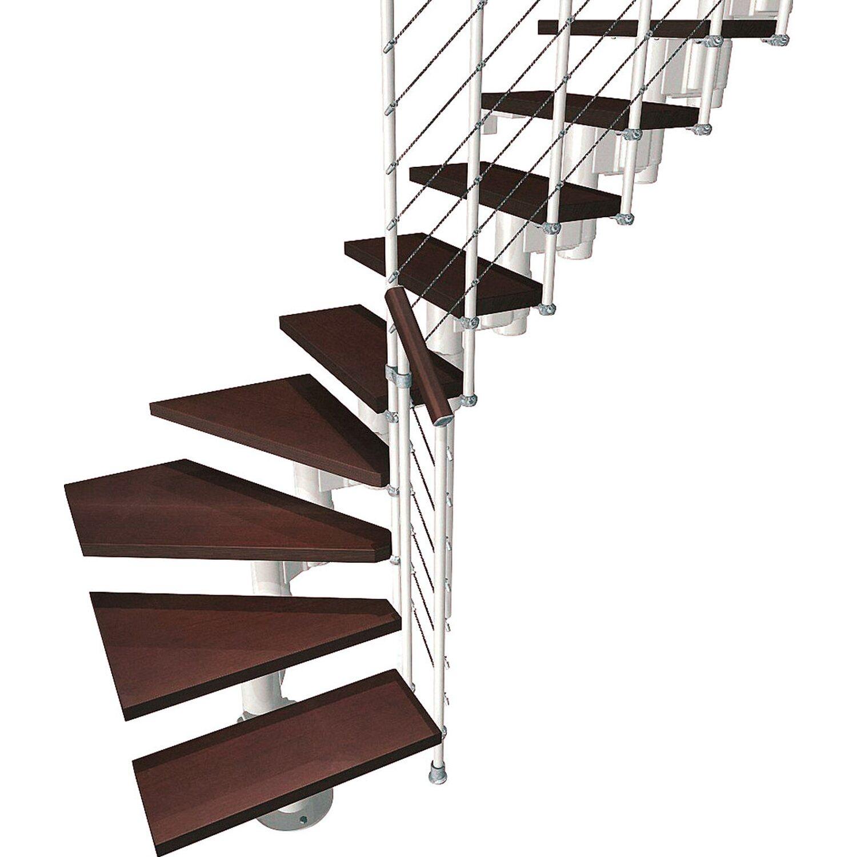Fontanot Bausatztreppe Komoda L-Form 12 Stufen Buche dunkel inkl. Geländer in Weiß