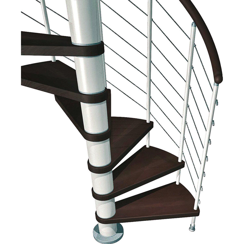 Fontanot Spindeltreppe Kloe Buche Dunkel mit Geländer in Weiß Ø 140 cm | Baumarkt > Leitern und Treppen > Treppen | Weiß | Holz & stahl | Fontanot