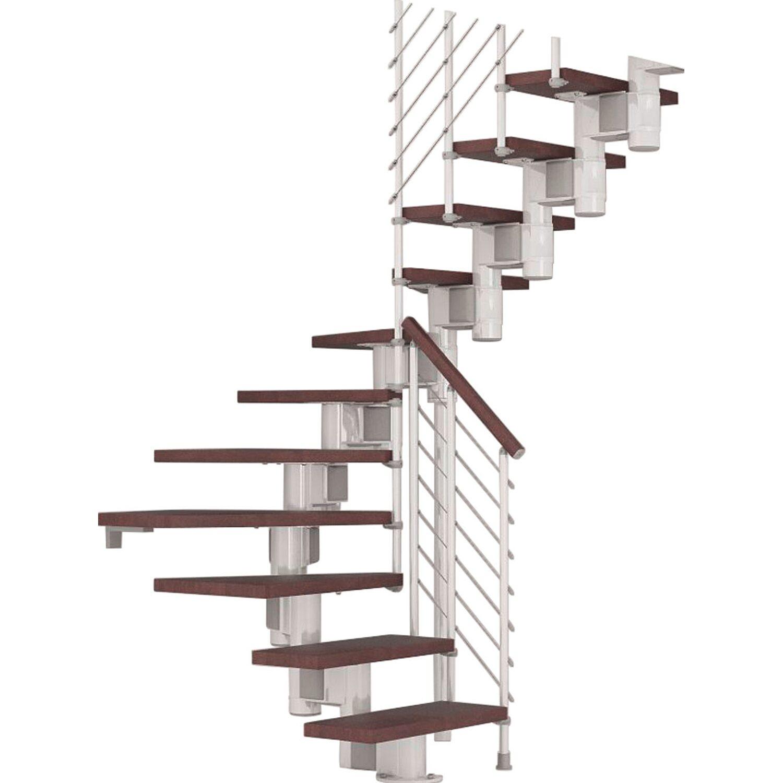 Fontanot Bausatztreppe Komoda U-Form 12 Stufen Buche dunkel inkl. Geländer in Weiß