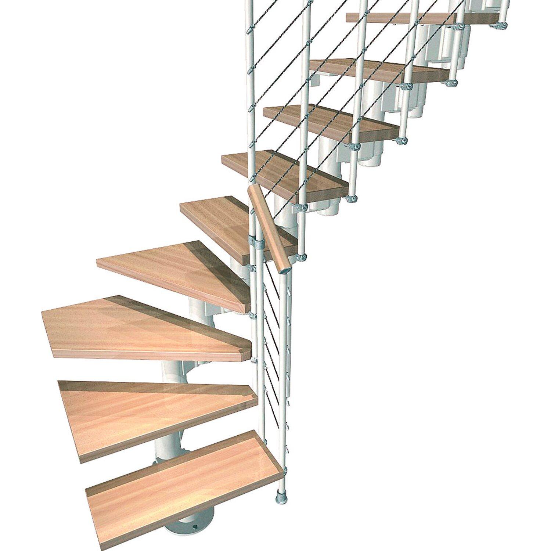 Fontanot Bausatztreppe Komoda L-Form 12 Stufen Buche hell inkl. Geländer in Weiß
