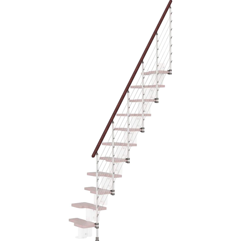 Fontanot Treppengeländer Kya Weiß mit dunklem Handlauf