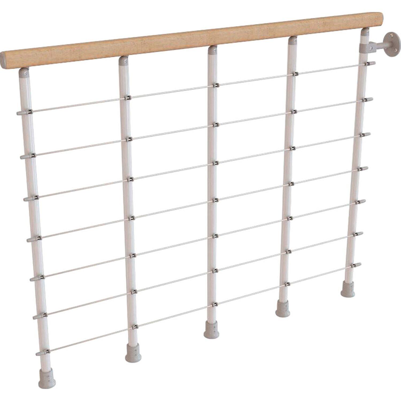 Fontanot Balustrade-Set Komoda 120 cm hellem Holzhandlauf und Pfosten in Weiß