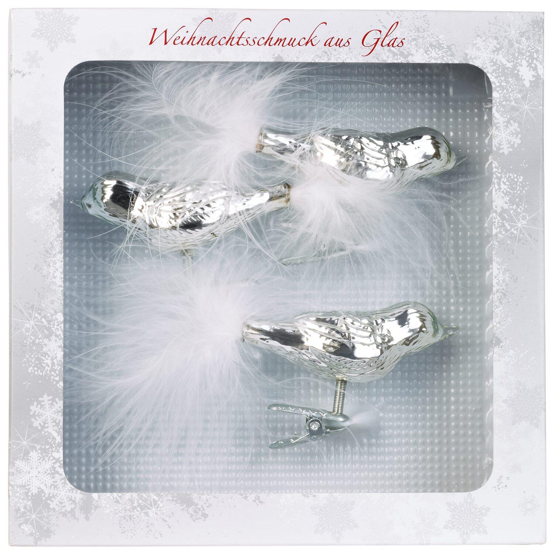 Christbaum schmuck glas vogel silber glanz 3 teilig kaufen bei obi - Obi weihnachtskugeln ...