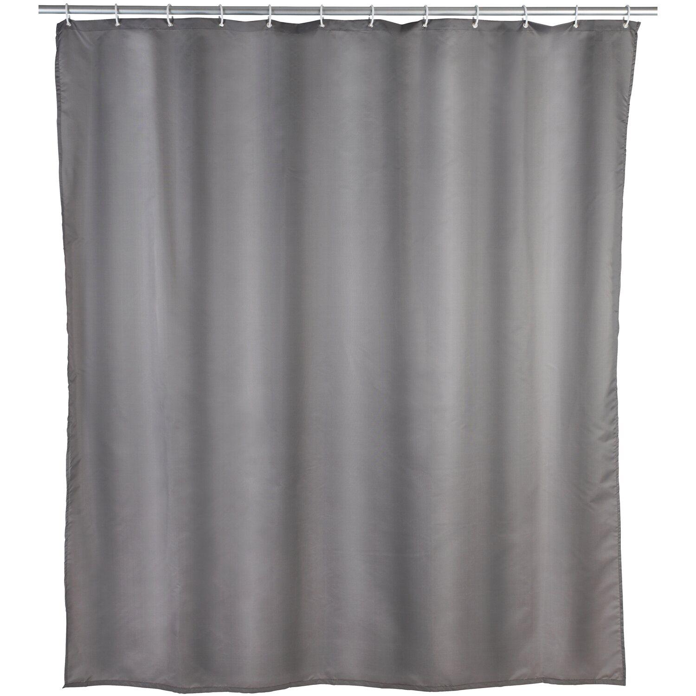 Wenko Duschvorhang Uni 240 cm x 180 cm Polyester Grau | Bad > Duschen > Duschvorhänge | Wenko