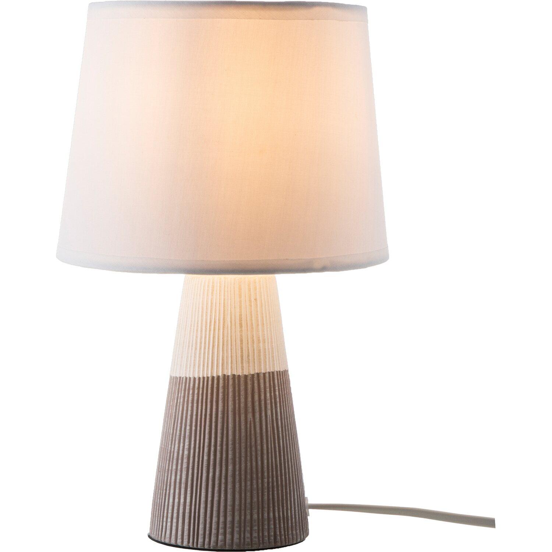 Nino Leuchten Nachttischlampe Samira Braun-Weiß 28 cm E14 EEK: E-A++   Lampen > Tischleuchten > Nachttischlampen   Nino Leuchten
