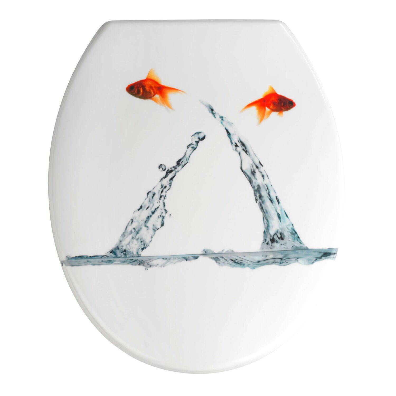 Wenko WC-Sitz Duroplast/Edelstahl Springing Fish
