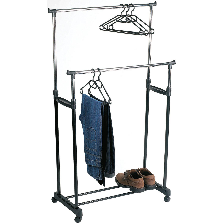 Perel robuster Kleiderständer mit zwei Kleiderstangen Metall